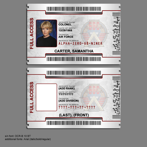 Samantha Carter achtergrond possibly with a newspaper called Stargate command ID badge