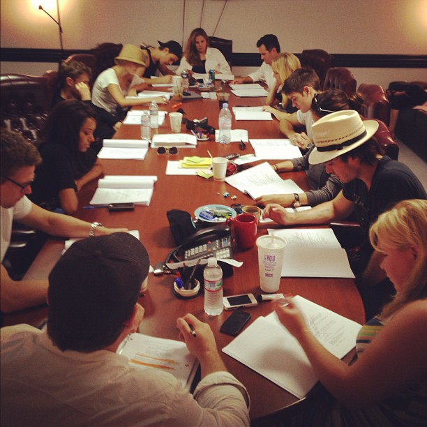 TVD cast reading the script for 4x01 - Ian Somerhalder and