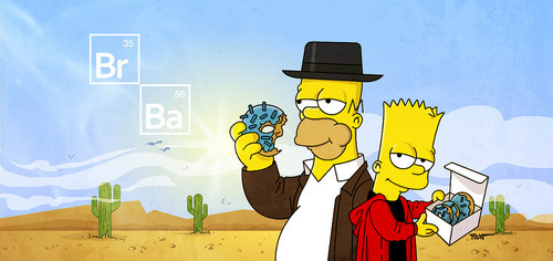 심슨 가족 바탕화면 with 아니메 titled The Simpsons x Breaking Bad