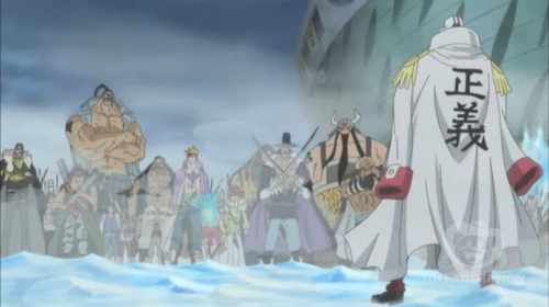 The Whitebeard pirates protect Ruffy before Akainu