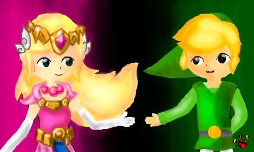 Toon Link and Toon Zelda fanart