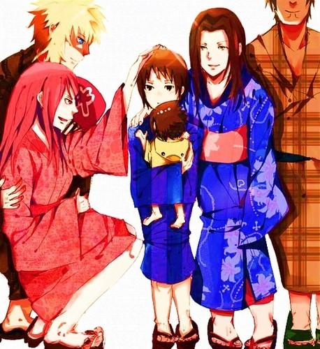 波风水门 壁纸 with a 和服 titled Uchiha & Namikaze Family <3