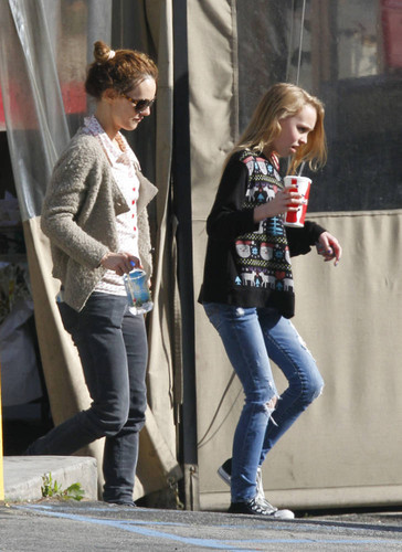 Vanessa and Lily at Pink's Tacos in Los Angeles 12.13.2011