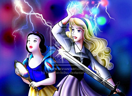 Walt Disney پرستار Art - Princess Snow White & Princess Aurora
