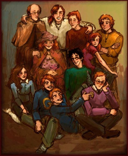 Weasleys, Harry and Hermione