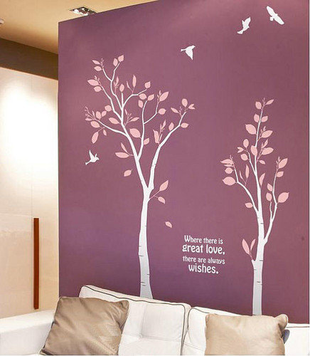 Home Decorating wallpaper probably containing a bedroom, a single bed, and a twin bed entitled Where There Is Great Love There Are Always Wishes Love Tree Wall Sticker