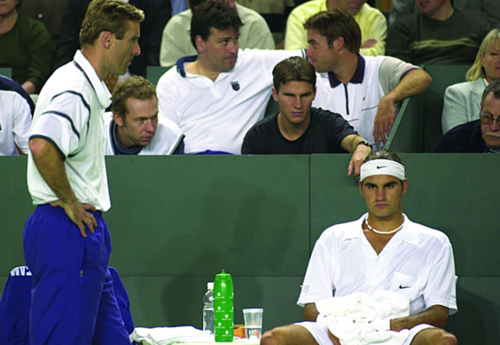 Young and bronze Roger Federer