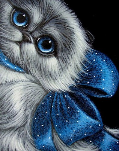 Cats wallpaper called beautiful cat with blue bow