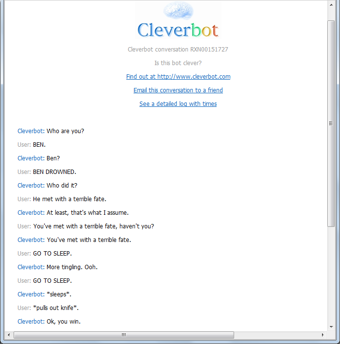 creepypastas on cleverbot