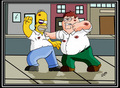 death fight - the-simpsons-vs-family-guy photo
