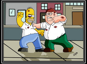 The Simpsons Vs Family Guy 壁纸 containing 日本动漫 titled death fight