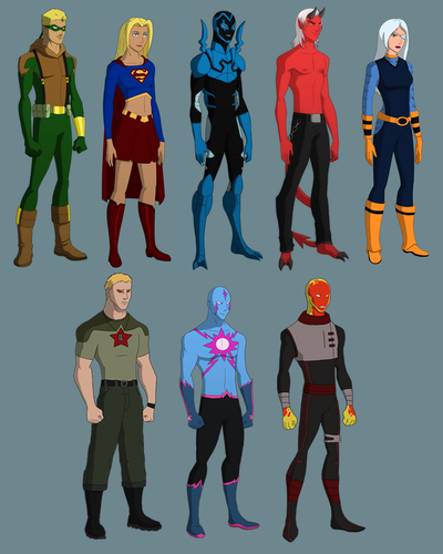 Young Justice wallpaper possibly containing a diving suit called guardianwolf216: Designs of characters she wants on the show + Blue Beetle