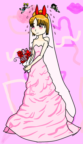 Blossom (powerpuff girls) Обои containing Аниме titled the розовый bride