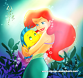 Walt Disney Fan Art - Flounder &amp; Princess Ariel - walt-disney-characters fan art