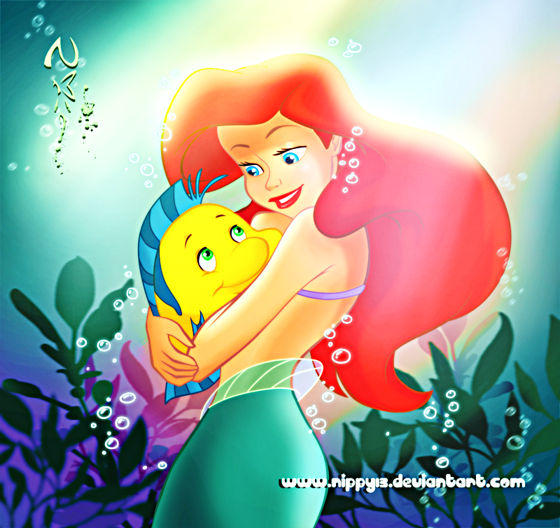 Walt Disney Fan Art - Flounder & Princess Ariel