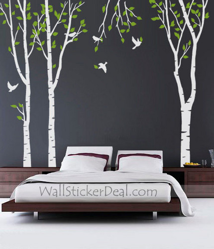 3 Green cây Forest With Birds tường Sticker