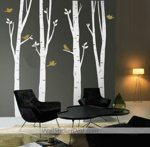4 Spring Birch дерево With Birds Стена Sticker