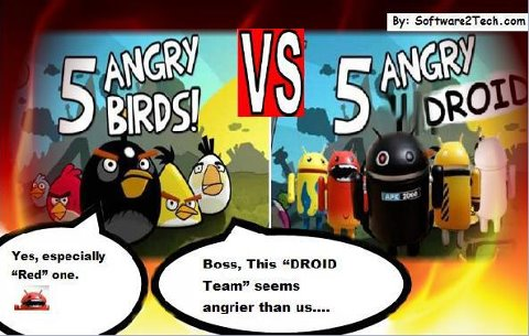 5 Angry Birds VS 5 Angry Droids