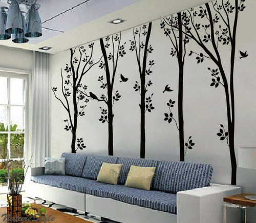 5 Birches arbre With Flying Birds mur Sticker