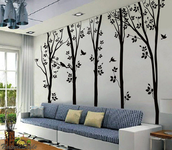 5 Birches Tree With Flying Birds Wall Sticker Home Decorating Photo 31501456 Fanpop