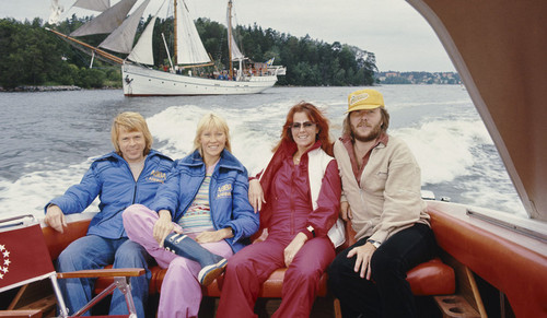 ABBA wallpaper with a bark, a square rigger, and a junk called ABBA