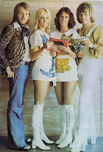 ABBA wallpaper probably containing bare legs and a hip boot titled ABBA