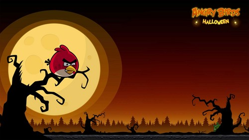 Angry Birds karatasi la kupamba ukuta possibly with a resort entitled Angry Birds Seasons Halloween