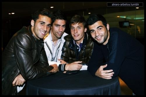 Arbeloa,Albiol with teammates