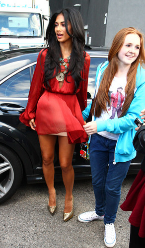 니콜 셰르징거 바탕화면 with bare legs and a hip boot titled Arriving At The X Factor Boot Camp In Liverpool [20 July 2012]