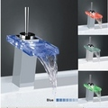 Best Selling Single Handle Mount LED Glass Waterfall Bathroom Sink Faucet