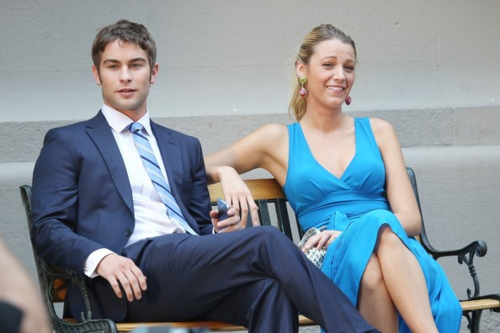 Serena Van Der Woodsen wallpaper with a business suit called Blake - Gossip Girl - Behind the Scenes - July 12, 2012