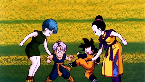 Bulma,Chichi with Trunks, Goten