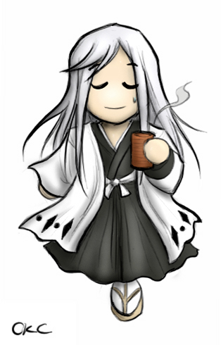 chibi Ukitake Jūshirō Having a Cup of teh