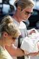 Chris Hemsworth and Elsa Pataky Take Baby India on a Walk - chris-hemsworth photo