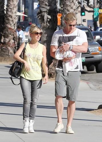 Chris Hemsworth and Elsa Pataky Take Baby India on a Walk