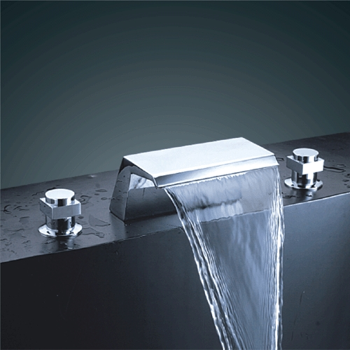 Faucets Images Chrome Finish Double Handle Waterfall Bathtub Sink Faucet Wallpaper And