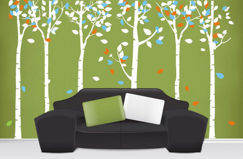Colorful Leaves Birch Forest Wall Sticker
