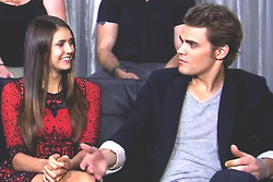 Paul Wesley and Nina Dobrev wallpaper with a business suit called Dobsley - EW interview @ Comic Con 2012