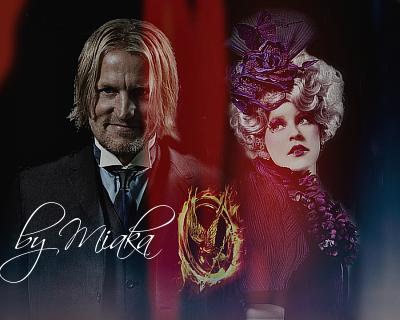 The Hunger Games wallpaper probably containing a business suit titled Effie Trinket and Haymitch Abernathy ~ Fanmade Banner