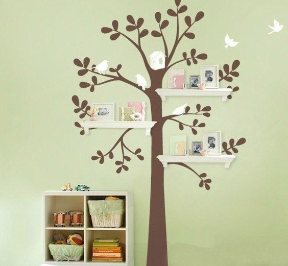 Tree wall sticker 2017 grasscloth wallpaper for Bird home decor