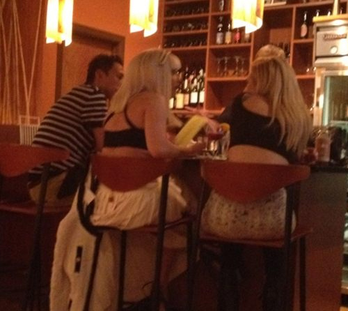 Gaga & Tara at a restaurant July 25