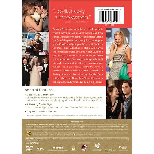 Gossip Girl Season 5 DVD Back Cover