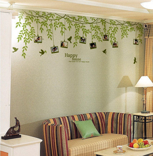 Happy House litrato Frame Vine and Birds pader Stickers