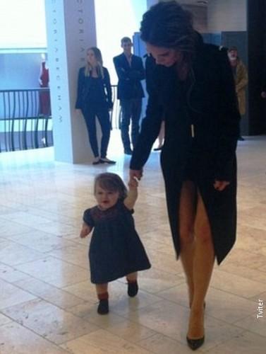 Harper Seven Beckham takes her first steps