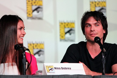 Ian Somerhalder and Nina Dobrev wallpaper probably with a concert titled Ian/Nina ღ