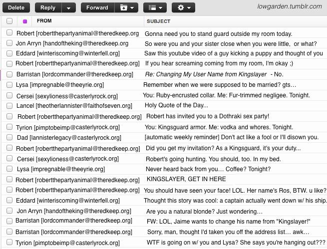 Jaime's Inbox, post Robert's Rebellion