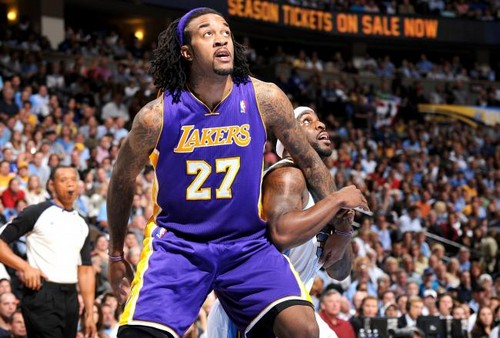 Los Angeles Lakers wallpaper probably containing a basketball player, a dribbler, and a basketball titled Jordan Hill
