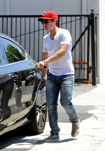 Josh leaving a hardware store - July 17th