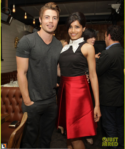 Josh wearing Alex Maine, with Freida Pinto!