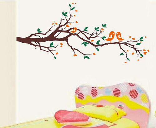 Kissing Birds Couple on Branches دیوار Sticker